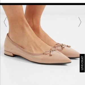 Prada patent nude flats with bow and dust bag